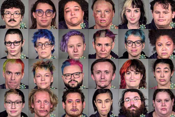 Quelques-uns des militants antifas interpellés par les forces de l'ordre de la ville de Portland (Oregon) lors des émeutes de l'été 2020 dans cette ville.